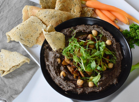 Chewy Flatbreads & Black Hummus with sautéed mushrooms (Vegan, Gluten-Free)