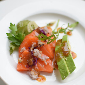 Salmon Sashimi Salad with Sumiso (Miso Dressing)