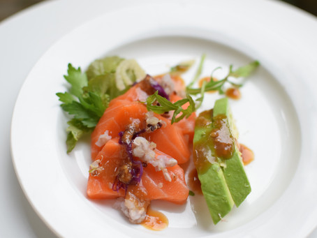 Salmon Sashimi Salad with Sumiso (Miso Dressing)