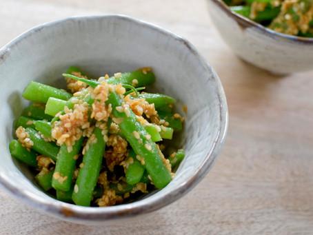 Yuzu Miso Goma-ae Green Beans (Boiled green beans with Yuzu Miso Sesame Sauce)