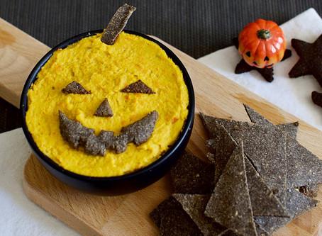 Halloween Carrot Hummus & Sesame Crackers (Vega & Gluten-free)