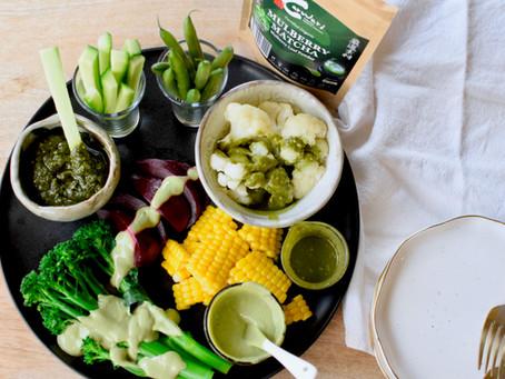 Vegetables Mulberry Matcha Sauce 3 ways (Vegan, Gluten-free)