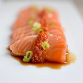 Salmon Sashimi with Tamari Vinaigrette and Yuzu Kosho Red