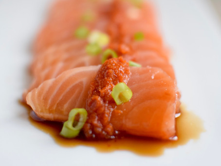 Salmon Sashimi with Tamari Vinaigrette and Yuzu Kosho Red