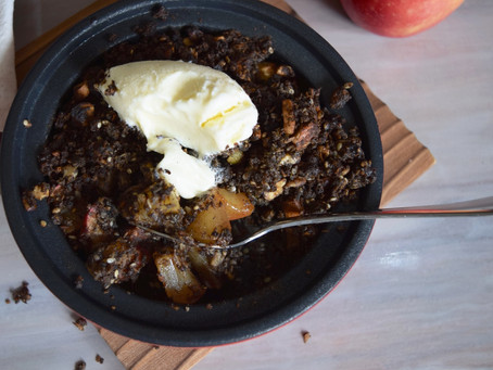 Easy Black Tahini Apple Crumble (Vegan, Gluten Free)