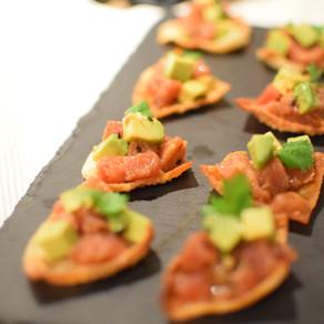 Spicy Seasoned Tuna & Avocado on a Won Ton Crisp