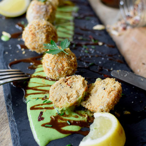 Mashed Tempeh Baked Croquettes with Tahini Lemon & Herb Sauce (Vegan)
