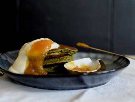 Yuzu flavoured Mulberry Matcha & Banana Pancakes (Vegan, Gluten-free, Dairy-free, Caffeine-free)