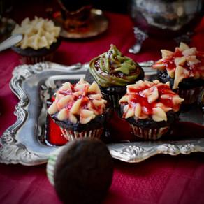Spooky Bloody Black Sesame Flour Cupcakes with Yuzu Cashew Frosting