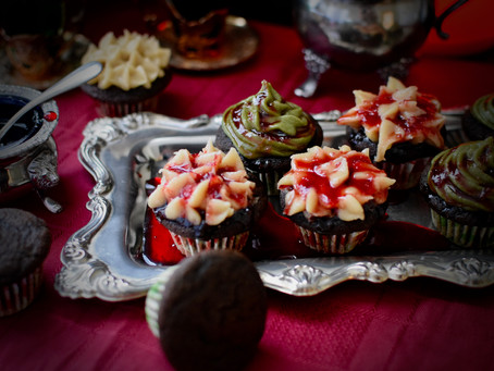 Spooky Bloody Black Sesame Flour Cupcakes with Yuzu Cashew Frosting