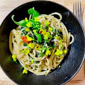 Japanese style Choy Sum & Enoki Mushroom Creamy Pasta with Spicy Seasoning (Vegan)