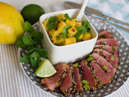 Seared Tuna and Mango Salsa