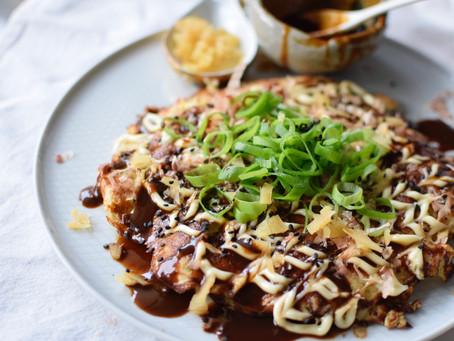 Sesame Flour Okonomiyaki (savoury Japanese Pancakes) with Zucchini and Prawns
