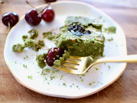 Vegan Mulberry Matcha, Lime & Cherry Coconut Slice