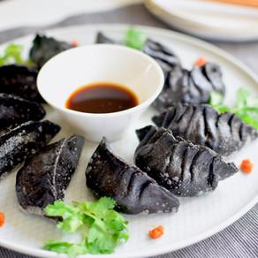 Vegan Gyoza dumplings with Black Sesame Flour Wrapper & Tamari Vinegar Dipping Sauce