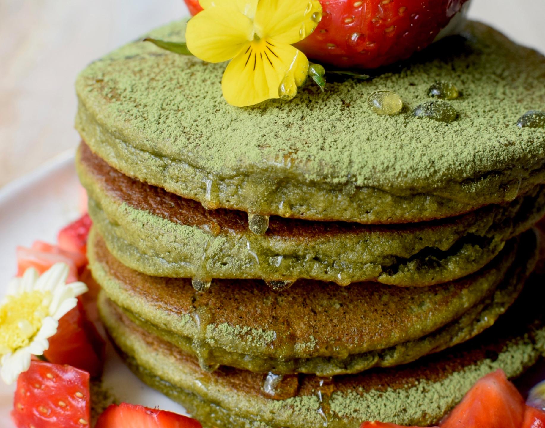 Green coloured pancakes