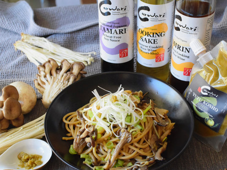 Japanese Style Spicy Mushroom Wholegrain Pasta with Yuzu Kosho