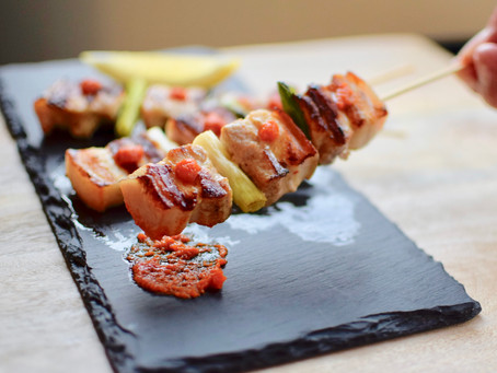 Pork Belly Skewers with Yuzu Kosho Red
