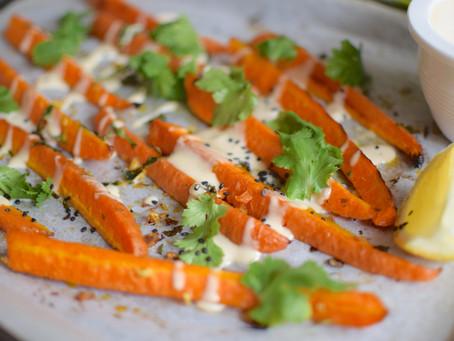 Roasted Carrots & Tahini Sauce (Vegan, Gluten-Free)