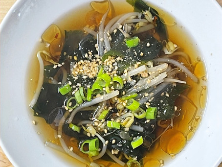 Bean Sprout and Wakame Soup with Toasted Sesame Oil (Vegan & Gluten-free)