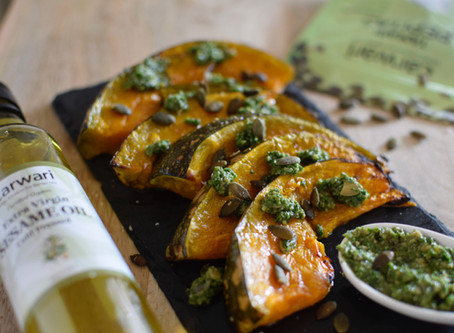 Roasted pumpkin and Kale & Pepitas Pesto