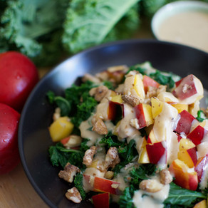 Blanched Kale Salad with Semi-sweet  Tahini & Miso Dressing