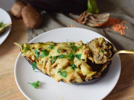 Miso Lentil & Mushroom Stuffed Eggplant (Gluten-Free)
