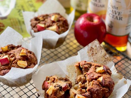 Sesame Flour with Cinnamon Apple & Banana Muffins (Vegan, Gluten-free)