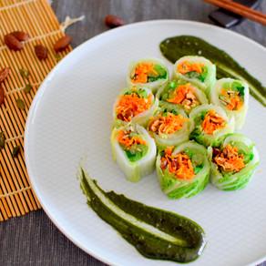 Chinese Cabbage Rolls & Green Miso Sauce (Vegan, Gluten Free, Macrobiotic)