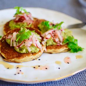 Miso Flavoured Sesame Flour Savoury pancakes (Gluten-free/Vegan)