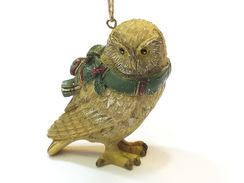 Resin Owl with Tartan Scarf Decoration