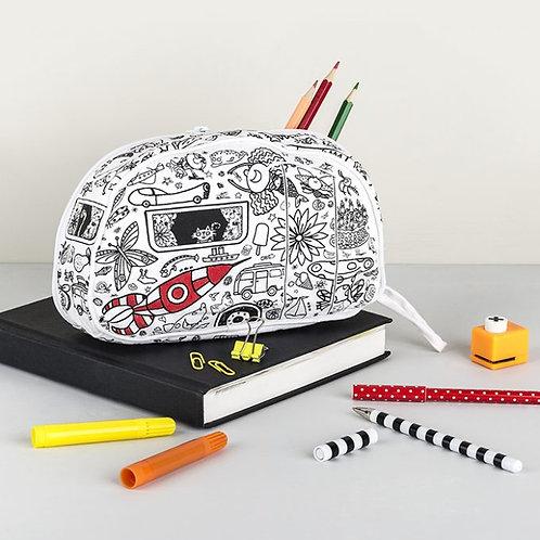Colour-in Pencil Case (with 6 pens) - Caravan