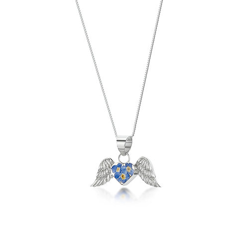 Silver Pendant - Forget me not - Angel wings