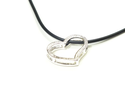 Black Leather Faux Necklace with Rhodium Open Heart