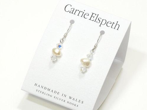 Soft White Pearl & Crystal Earrings