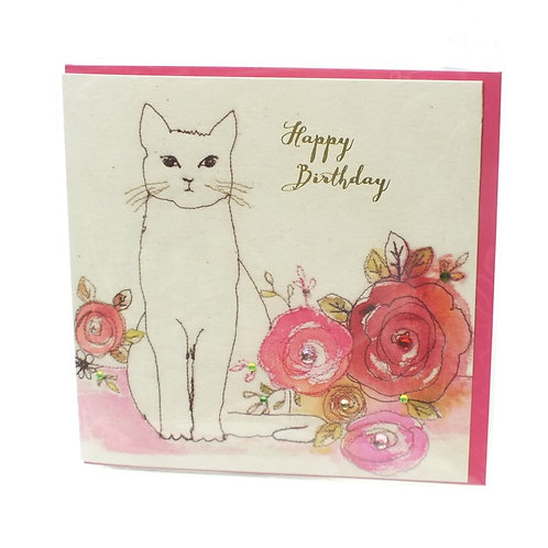 Happy Birthday Sitting Cat - Card