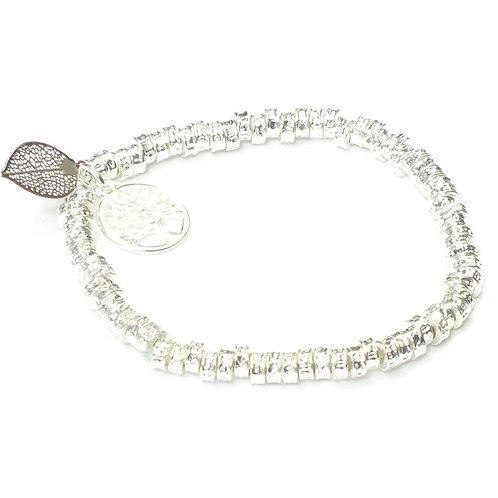 Rhodium Plated Elastic Bracelet With Tree of Life And Leaf