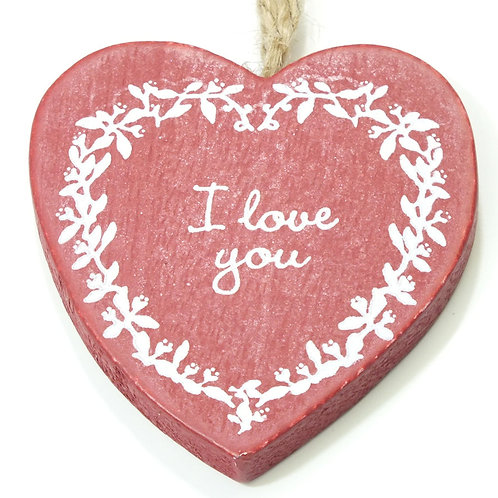 """Country Chic """"I Love You"""" Heart Decoration - Red"""