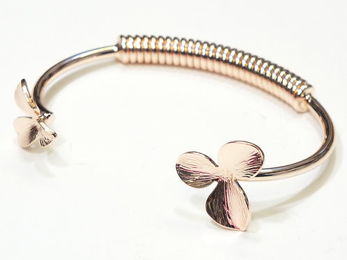 Rose Gold Two Clover Open Bangle