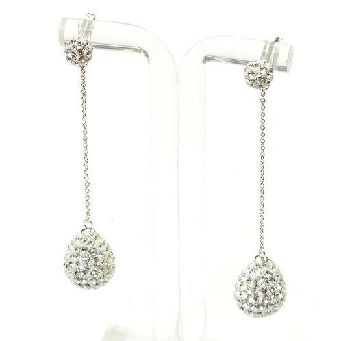 Silver White 2 X Crystal Drop Earrings