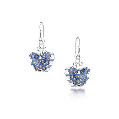 Sterling Silver Drop Earrings - Forget-me-not - Butterfly