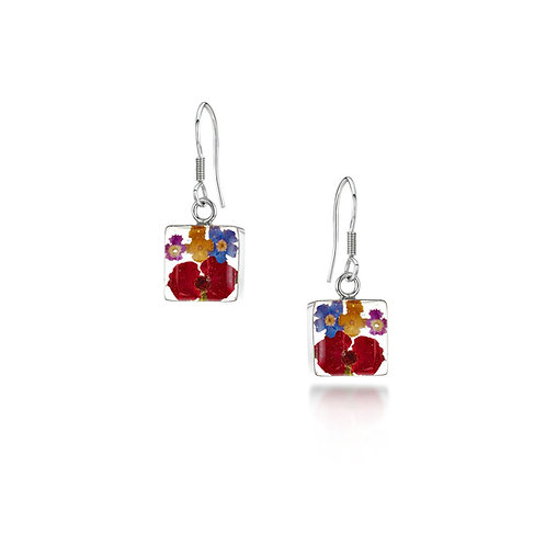 Silver Drop Earrings- Mixed Flowers-Square