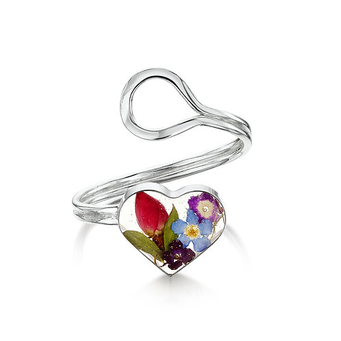 Sterling Silver Ring(Adjustable) Mixed Flower - Heart