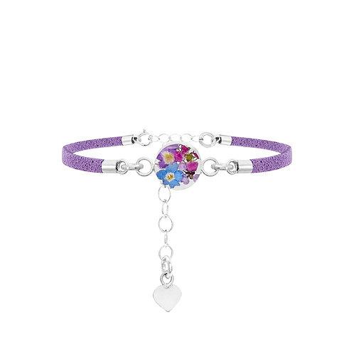 Sterling Silver Fashion Bracelet - Purple Strap - Purple Haze - Round