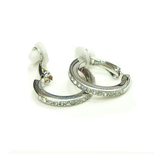 Rhodium Half Hoop Clip on Earrings Large with CZ's