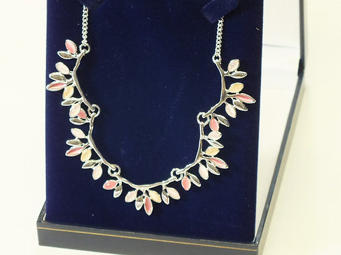Pink Pastel Leaves on Rhodium Necklace