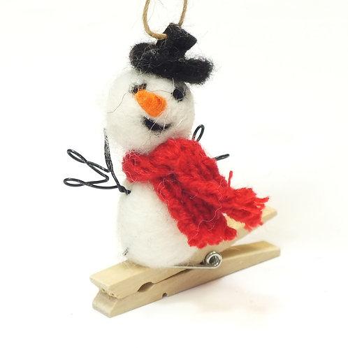 Wool Mix Snowman Peg Decoration