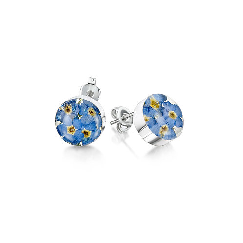 Silver Stud Earring - Formet-Me-Not  - Round