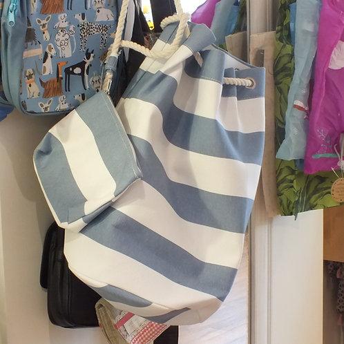 Blue Stripe Drawstring Bag With Purse