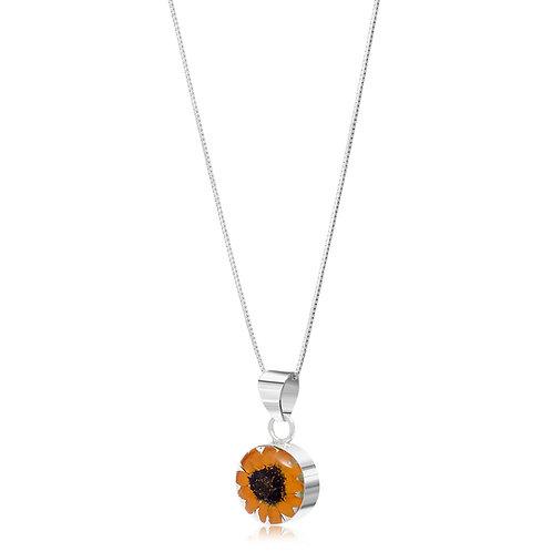 Silver Pendant - Sunflower - Round